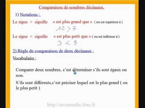 6eme cours de maths sur la comparaison de deux nombres ...
