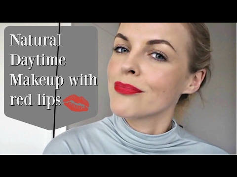 Natural Daytime Makeup with red lips