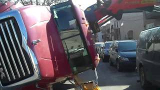 TRUCK/CRANE FLIPS ON IT'S SIDE AT 12TH AVE AND 59 ST  BKLYN,NY