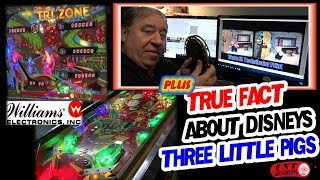 #1406 Williams TRI ZONE Pinball Machine & Fact about Disney's 3 LITTLE PIGS cartoon TNT Amusements