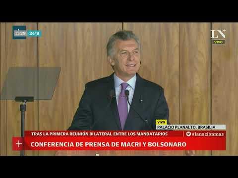 La conferencia conjunta de Jair Bolsonaro y Mauricio Macri
