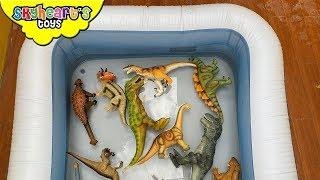 DINOSAUR FIGHT in pool! Skyheart T-Rex battle rubber jurassic toys children