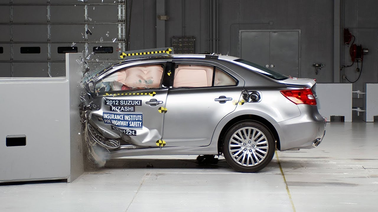 2013 suzuki kizashi driver side small overlap iihs crash test youtube