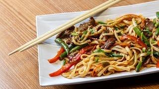 Как готовят лапшу Удон с говядиной в ресторане Meiwei