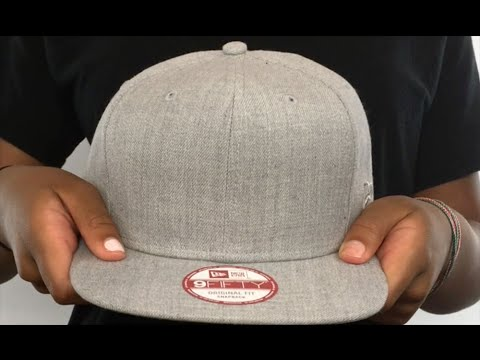 20426447171 New Era  BLANK SNAPBACK  Heather Grey Adjustable Hat - YouTube