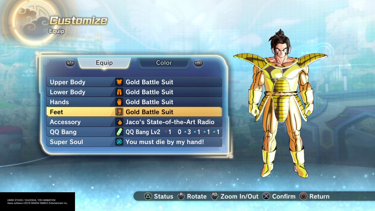 DRAGON BALL XENOVERSE 2-How to unlock GOLD BATTLE SUIT ...
