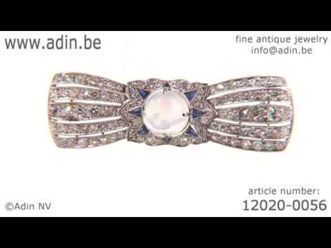 Belle Epoque Art Deco diamond sapphire moonstone platinum br