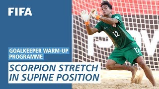 Scorpion stretch in supine position [Goalkeeper Warm-Up Programme]