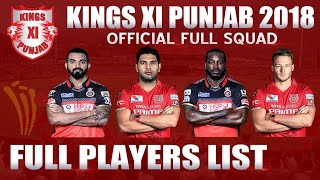 Vivo IPL 2018 || Kings X1 Punjab Team Squad 2018 || Kings X1 Punjab Full and Final team  2018