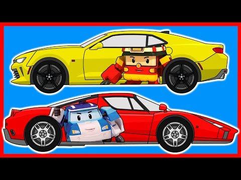 Раскраска. Машинки. Робокар Поли. Robocar Poli. Изучаем цвета. Learn colors