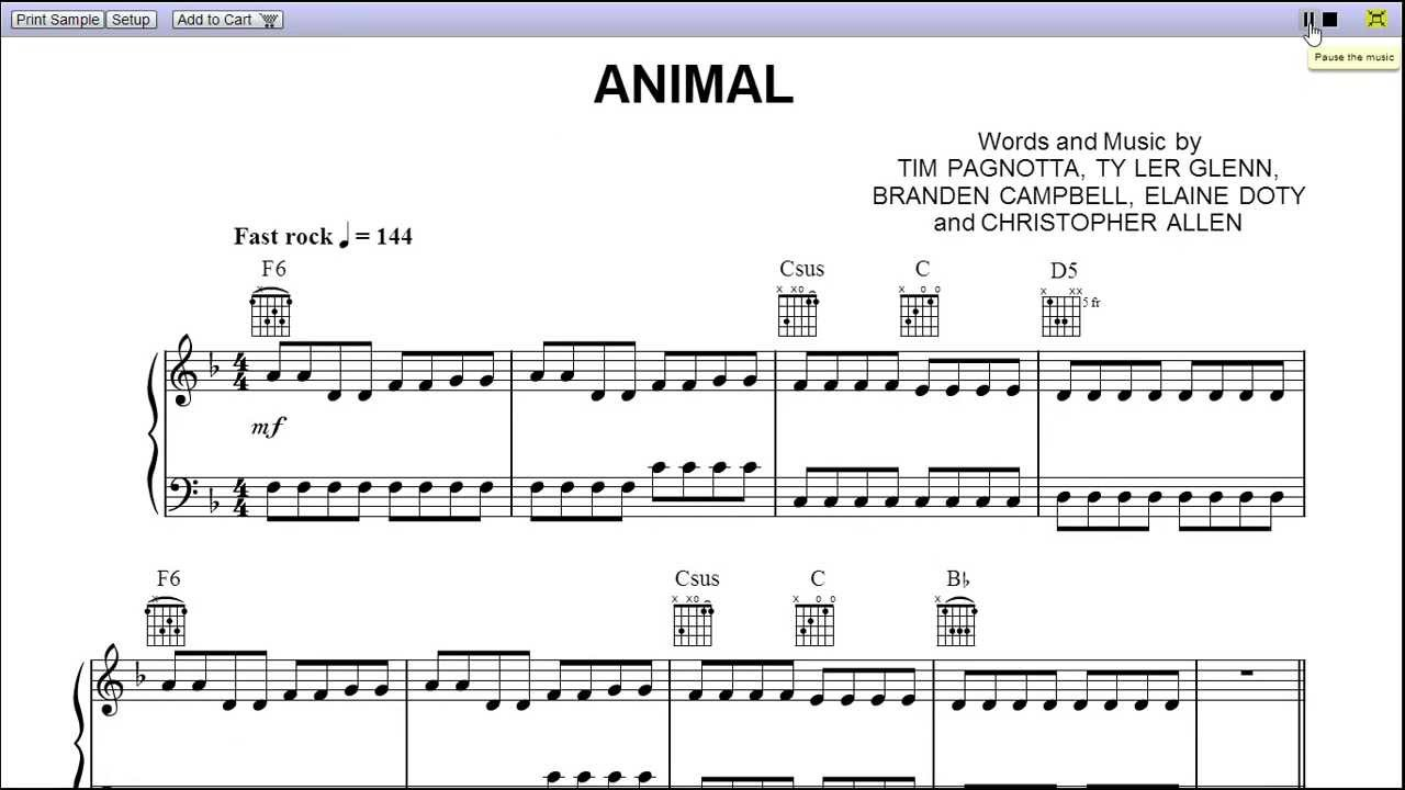 Neon trees animal (drums only) sheet music for percussion.