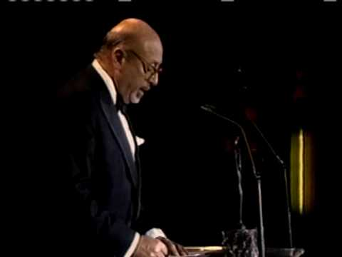 Ahmet Ertegun accepts award Rock and Roll Hall of Fame inductions 1987