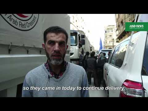 Aid convoy enters Syria's battered Ghouta