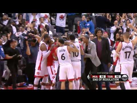 Kyle Lowry's half court buzzer beater to force OT vs Miami! (Game 1)