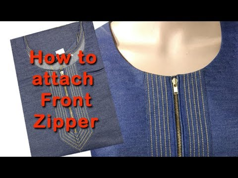 How to attach stylish front zipper DIY hindi tutorial, how to stitch kurti with front zipper