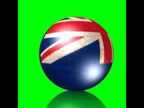 GREEN SCREEN NEW ZEALAND FLAG GLOBE SPINNING