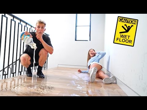 OIL FLOOR SLIP PRANK ON HOT ROOMMATES