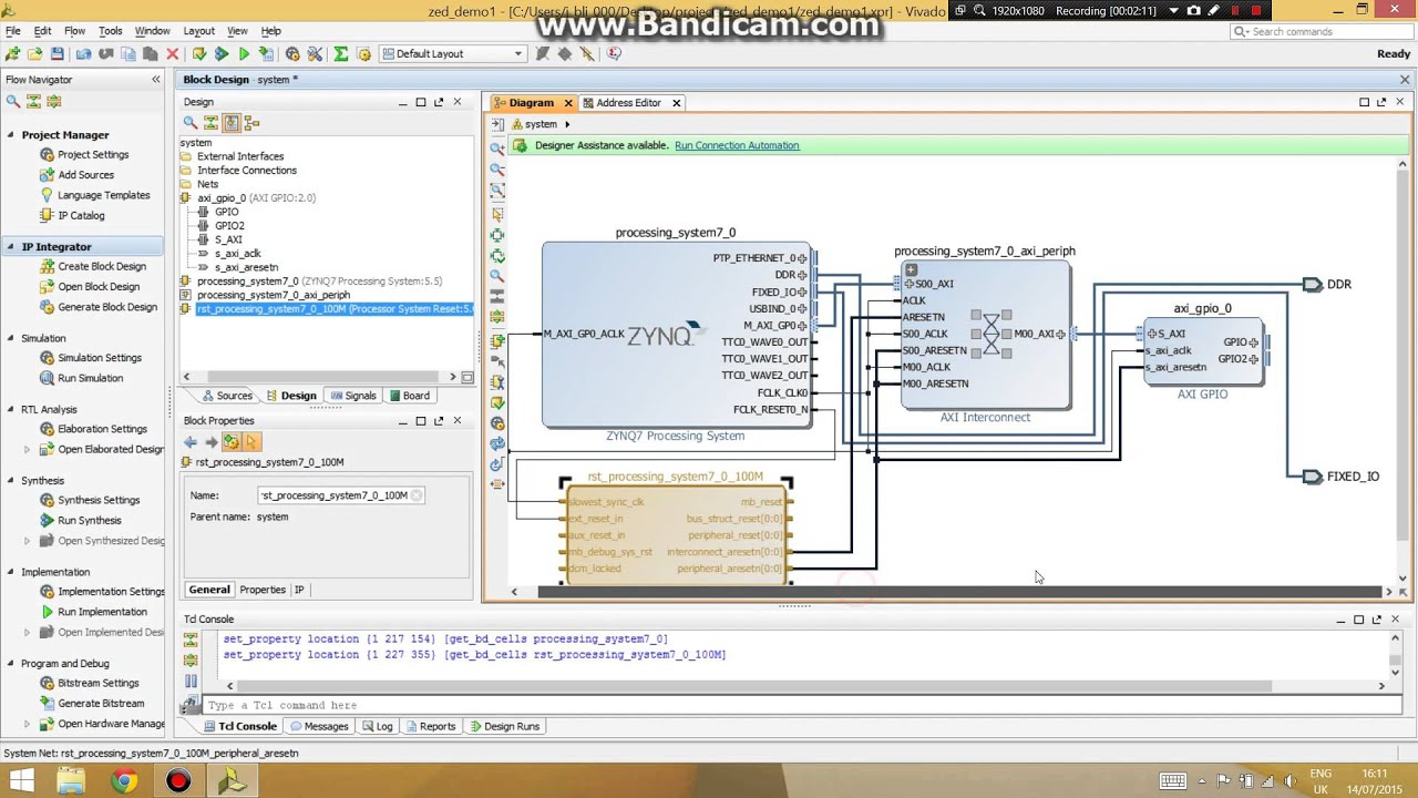 Application 1 3- ZedBoard hardware design on Vivado and launching SDK