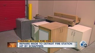 Repairs made to Detroit fire station hit by scrappers