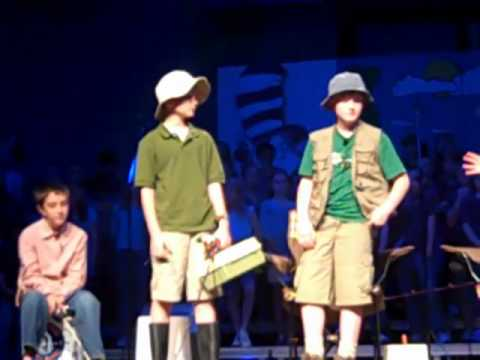 "reece mcdaniel performs in Evansville christian school's ""fishtales"""