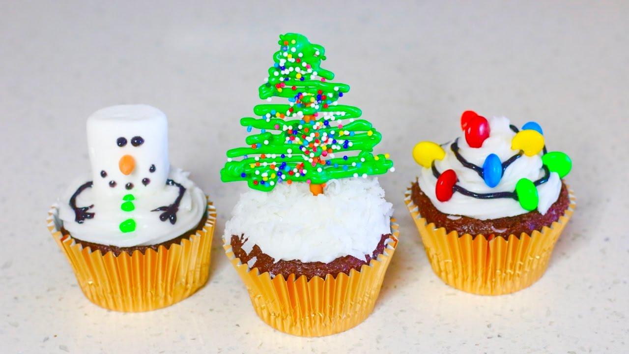 3 Ideas Para Decorar Cupcakes Navidenos Karla Celis Youtube