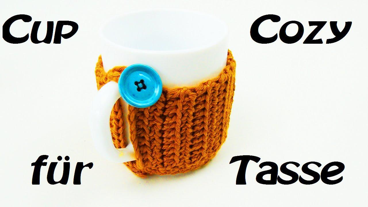 Cup Cozy Häkeln Für Tasse Mit Knopf Befestigt Praktisch