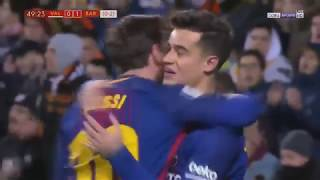 Philippe Coutinho First Goal for Barcelona HD (english commentary) Valencia - Barca
