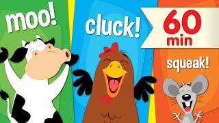 Moo, cluck, and squeak along with our favorite animal sounds songs!...
