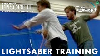 Hayden Christensen and Ewan McGregor Lightsaber Training