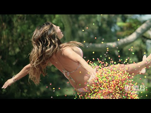 Promo Brady - Ana Cheri jumps on trampoline with thousands of skittles. SLOW MOTION!