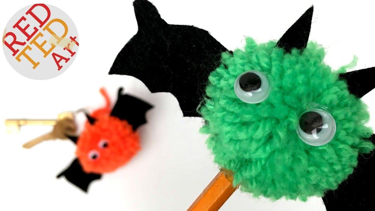 Easy Pom Pom Bats - Pencil Topper - Keychain - Cute Halloween DIY