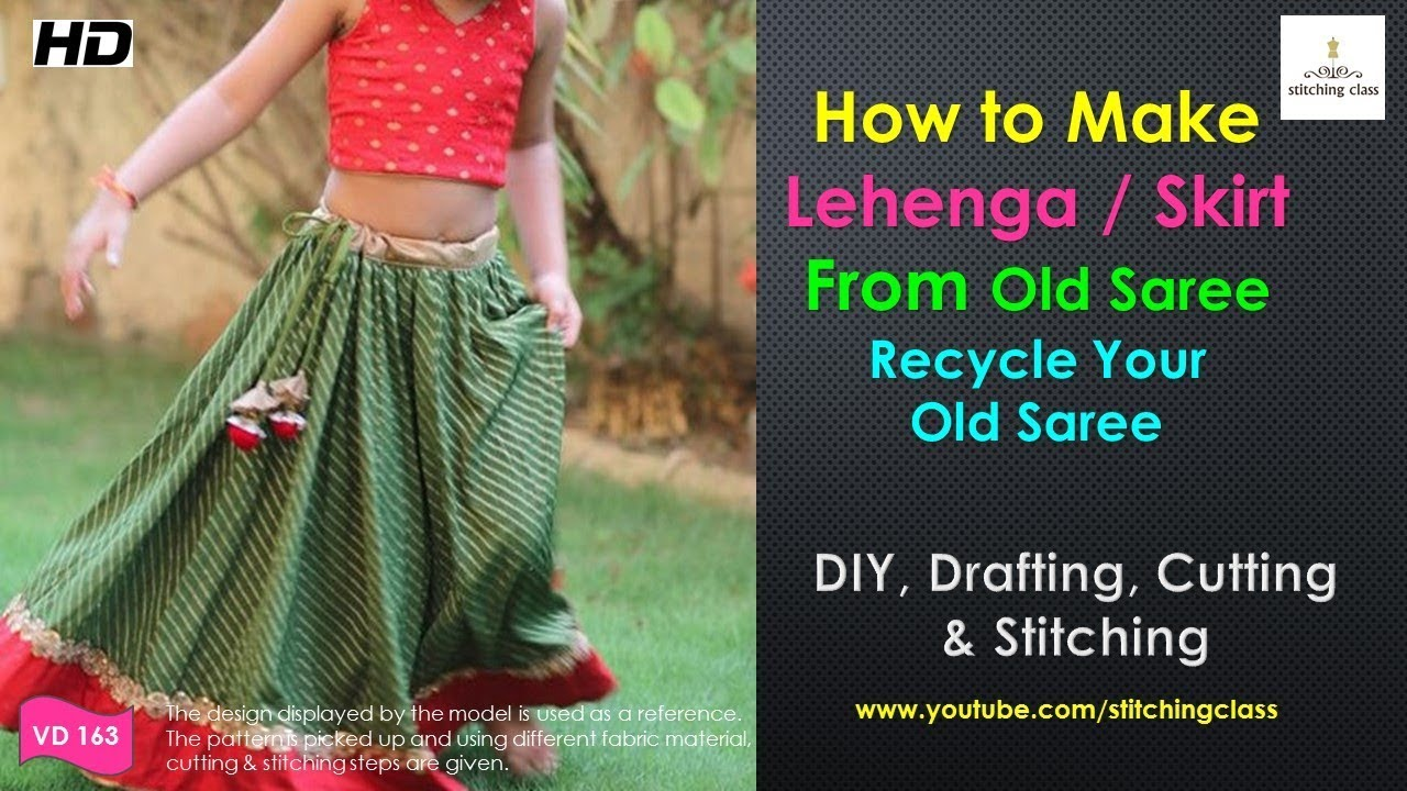 c56017a86f4 How to Make Lehenga from Old Saree DIY, Lehenga Cutting and Stitching,  skirt from old saree