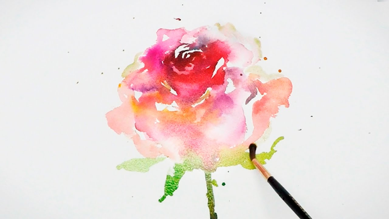 lvl4 watercolor rose painting wet on wet youtube