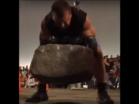 Derek Poundstone Lifts the Louis Cyr Stone (530 pounds)