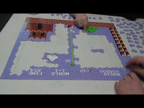 """Super Time lapse of a 18""""X24"""" 550 piece SUPER MARIO BROS puzzle assembly"""