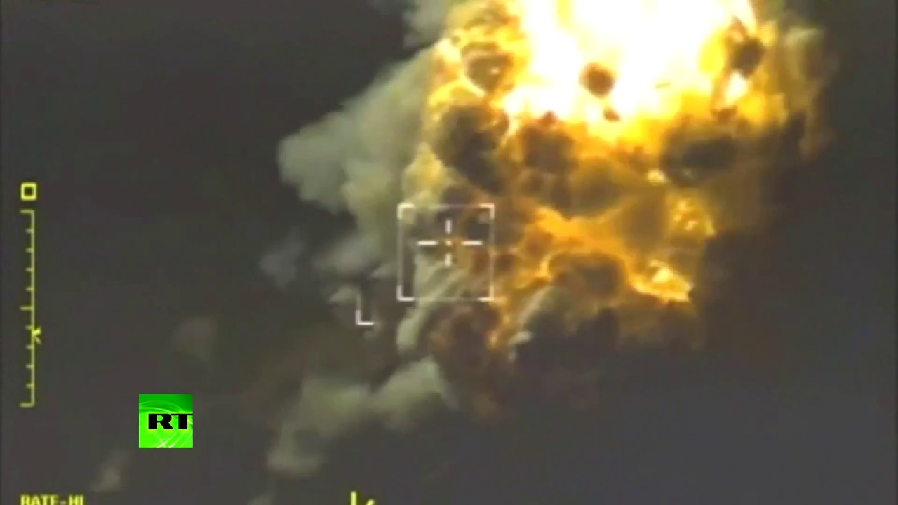 Видеокадры ударов ВКС России по позициям боевиков в сирийском Идлибе