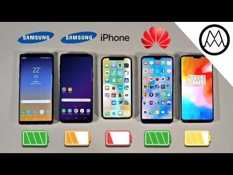 Samsung Note 9 vs S9+  iPhone X  OnePlus 6 Battery Life DRAIN TEST