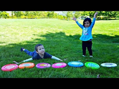 Thumbnail: Learn Colors with Frisbees for Toddlers and Babies | Kids Playing Outside with Coloured Frisbee Toys