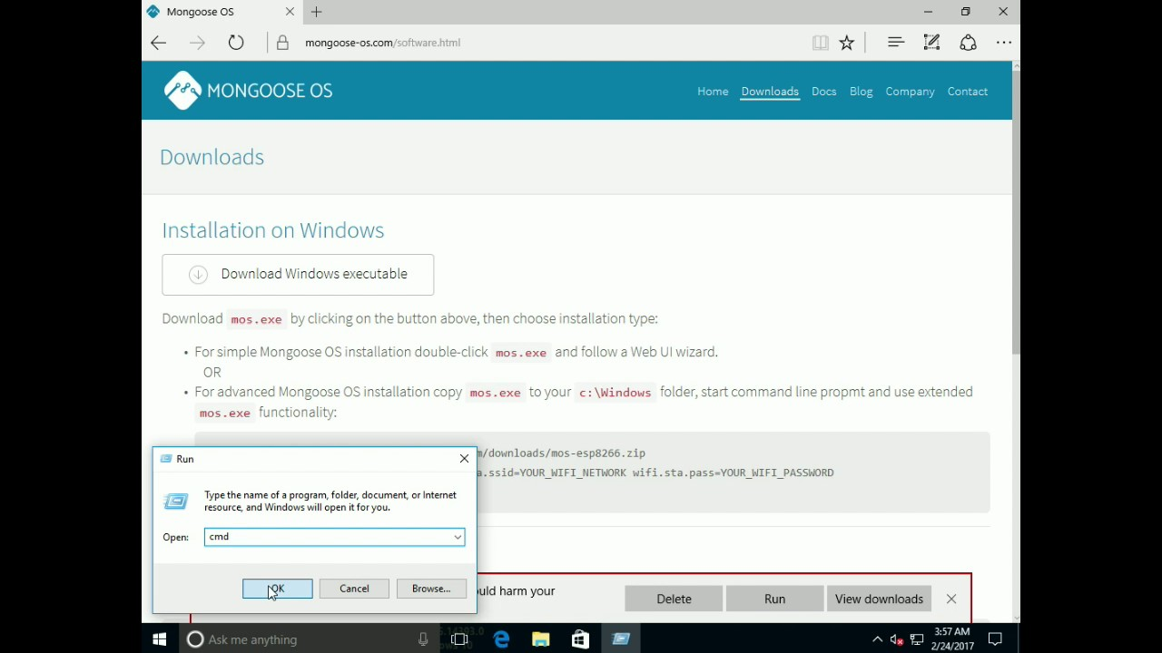 Mongoose OS #2: Installation (Windows, command prompt)