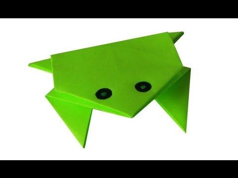 Оригами. Прыгающая лягушка из