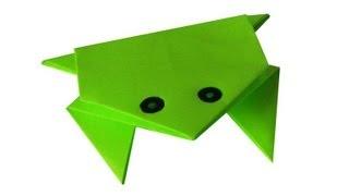 Оригами. Прыгающая лягушка из прямоугольного листа