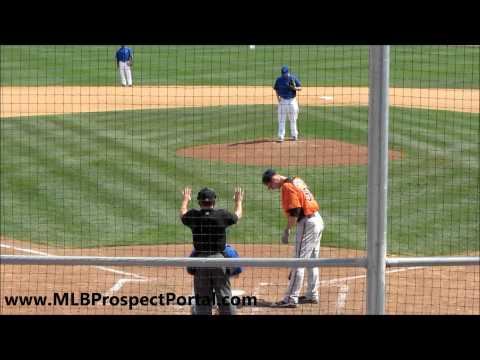 Blue Jays RHP Drew Hutchison vs  Orioles 1B Joe Mahoney   spring training 2012