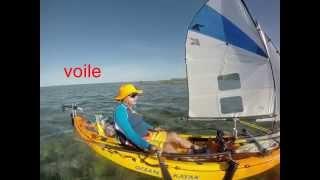 Kayak à voile, moteur et pagaie. Lagon de Poe, Roche Percée, Ile Verte.