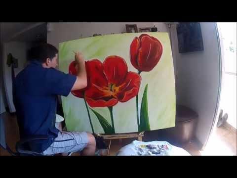 Tulipanes rojos ole sobre lienzo youtube for Fotos para cuadros grandes