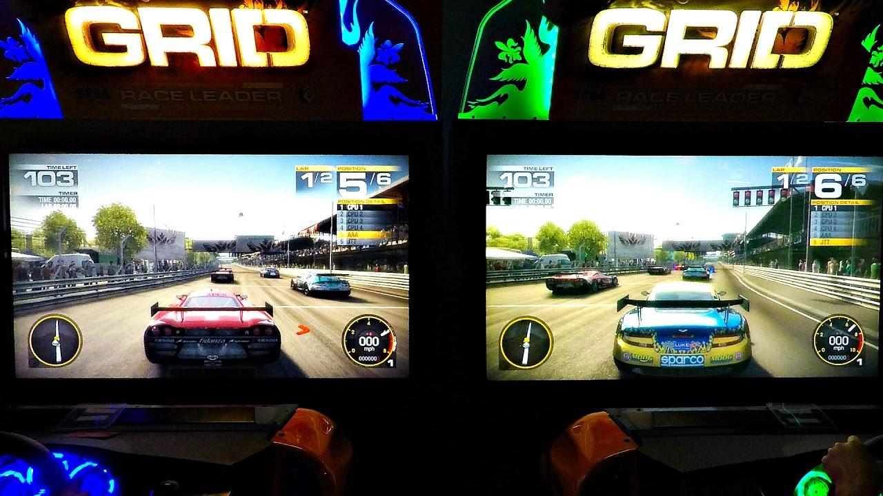 Grid Auto Racing Arcade Video Gaming Center Dual Screen Kids ...