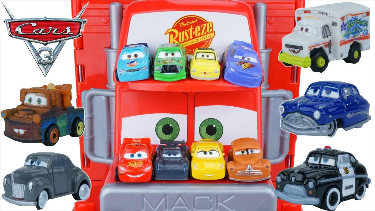 Funny Disney Cars 3 Tiny Mini Racers Huge Mack Hauler Jackson