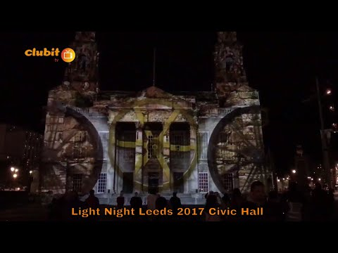 Out of the Aire Projected on Civic Hall at Light Night Leeds 2017