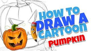 How to draw a cartoon pumpkin | step by step cute cartoon