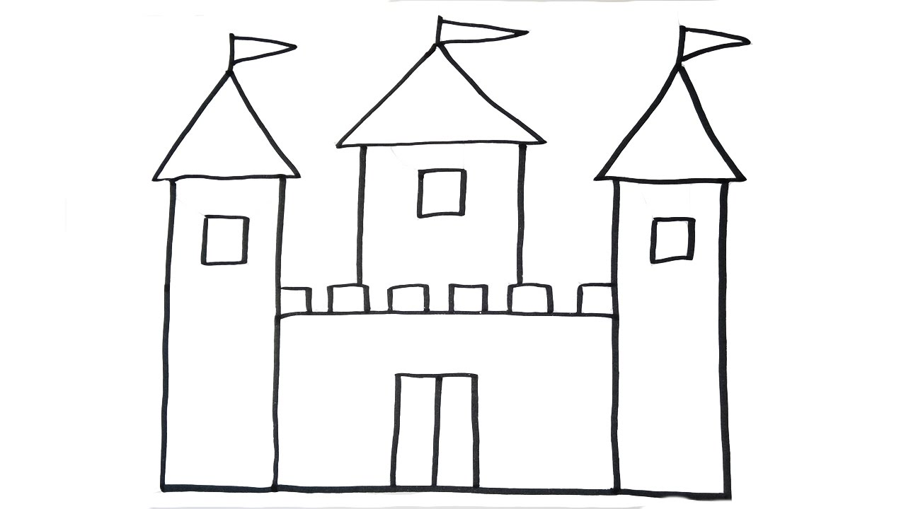 how to draw a castle very easy for kids youtube