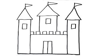 how to Draw a Castle Easy step by step / Как нарисовать замок